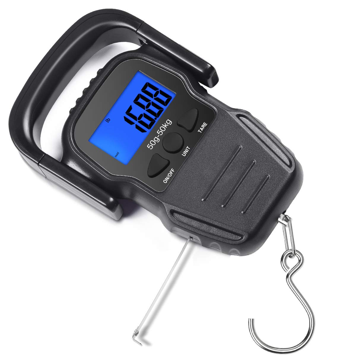 CaseBuy Digital Fish Scale 110lb/50kg, Portable Luggage Weight Scale, Electronic Hanging Hook Scale Fishing Scale with Measuring Tape/Large Backlit LCD Display, Batteries Included by CaseBuy