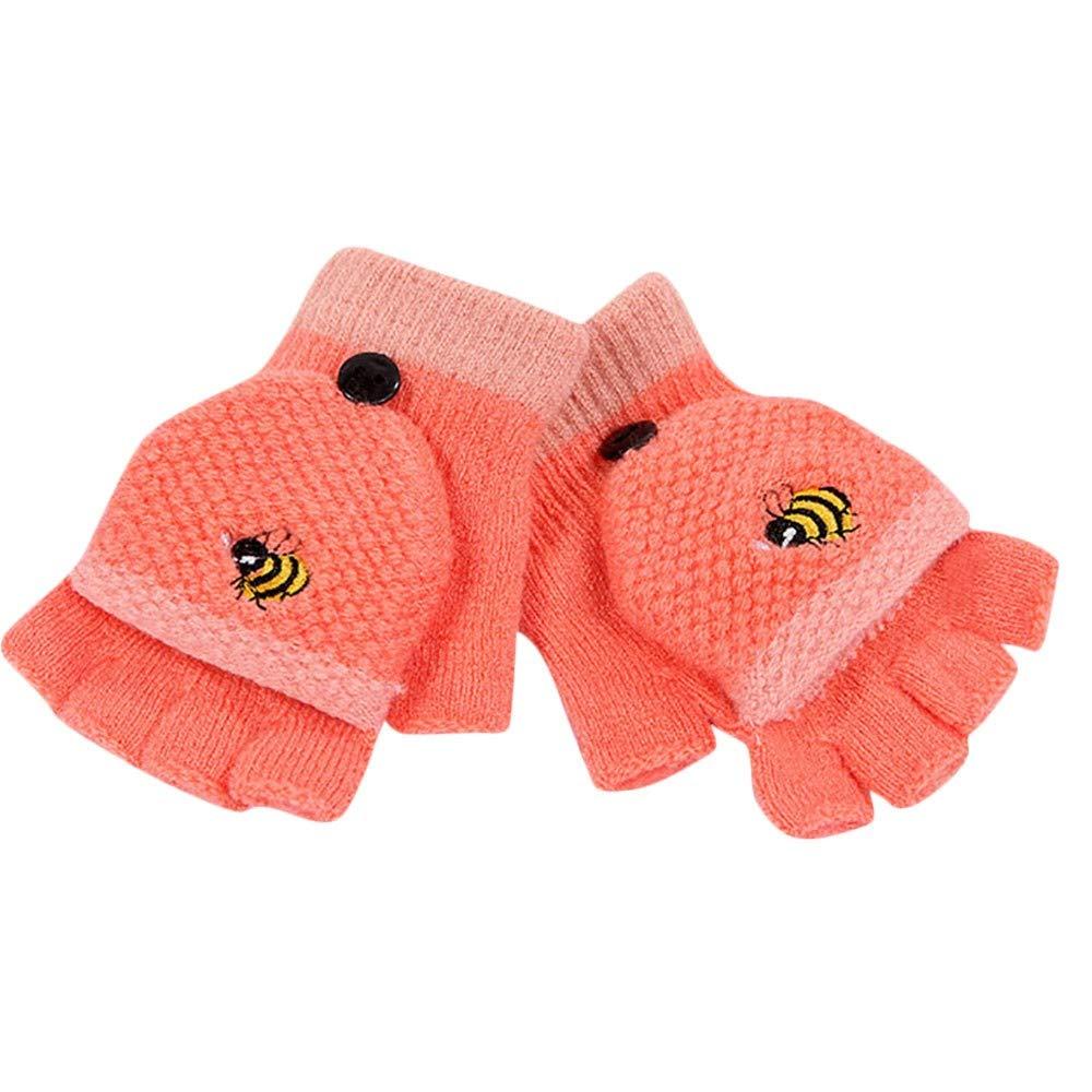 Cinnamou Baby Gloves,1Pair Lovely Cartoon Honeybee Patchwork Full Finger Writing Gloves Toddler Kids Boys Girls Ski Gloves Winter Warm Mittens For 2-4 Years Old Baby