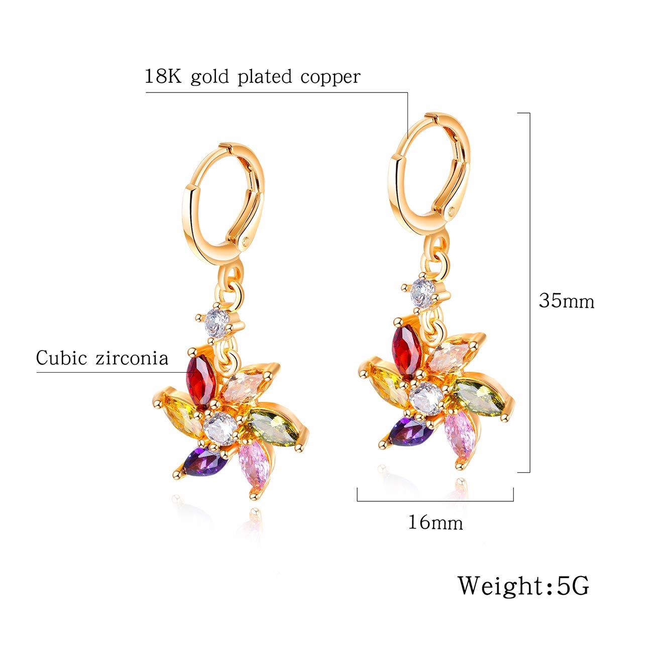 Soonvinia Rose Gold Leverback Dangle Drop Earrings Colorful Cubic Zirconia Windmill Earrings Gift for Women Girls