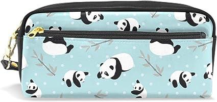 Estuche de bambú para bolígrafos de panda con diseño de animales, bolsa de cuero con compartimentos para niños, escuela, mujeres, cosméticos, bolsas, pequeño.: Amazon.es: Oficina y papelería