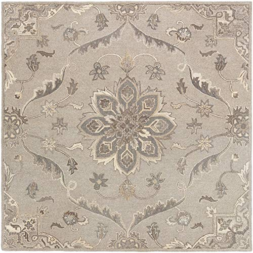 Tiwari Home 8' Floral Medallion Patterned Gray and Brown Square Area Throw Rug