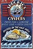 Kitchen Oyster Bar Oyster Bar - Vintage Sign (12x18 Collectible Art Print, Wall Decor Travel Poster)