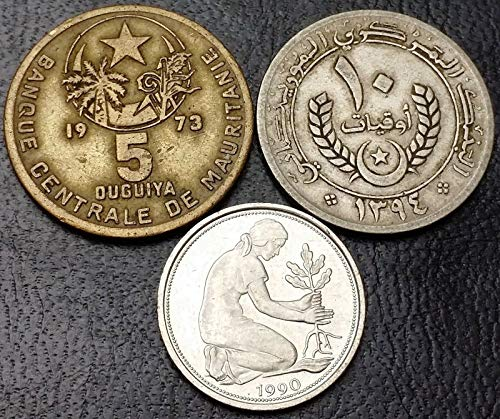 Lot of 3X Coins - Mauritania 1973-1974 5-10 Ouguiya, for sale  Delivered anywhere in Canada