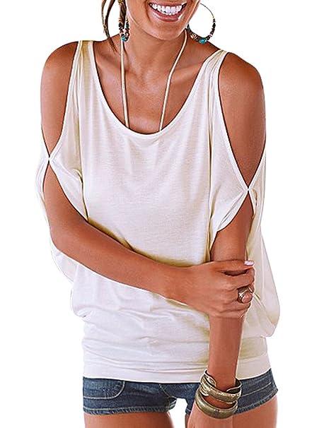 22cc3d6b24360 Imixcity Verano Camisas De Hombro Frío Blusas Tops del Batwing Camisetas  sin Mangas Camiseta Casual Camiseta