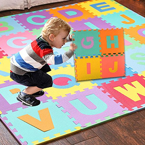 Makaor Baby Kids Soft Play Mat,Kids Puzzle Alphabet,36pcs LARGE Alphabet Numbers EVA Floor Play Mat Baby Room Jigsaw ABC foam Puzzle (Multicolor, Size: 15.5cmx 15.5cm)