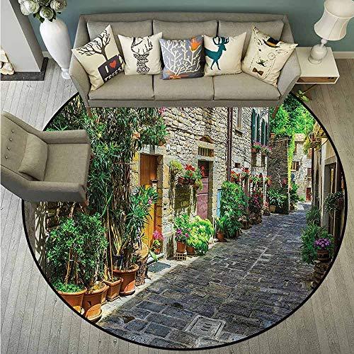 - Area Round Rugs,Tuscan,Cobblestone Doorway to House,Machine-Washable/Non-Slip,4'7
