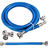Steam Dryer Hose Installation Kit - Stainless Steel Braided PVC Coated Hoses - 6 ft Long with 90 Degree Elbow, 1 ft…