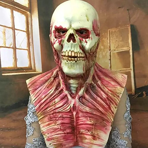 CHICHIC Halloween Zombie Mask, Creepy Scary Novelty Head Mask Skull, Latex Rubber Cosplay Party Costume Decorations, Dead Evil Monster Masks, for Adults Party Decoration Props Accessories -