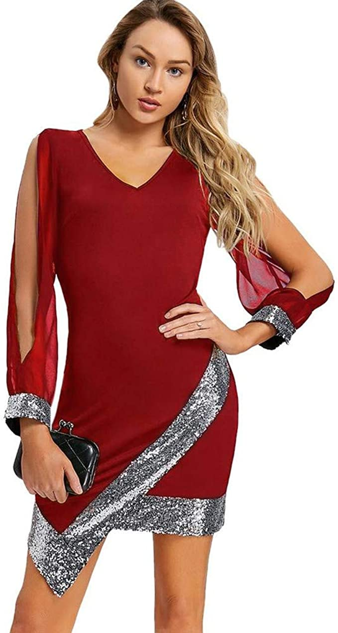 Longra Damen Kleider Elegante Kleider mit Pailletten Langarm Off
