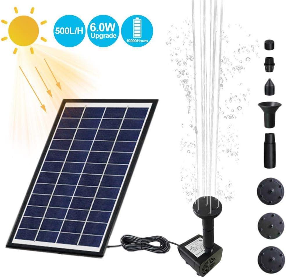 iYoung Kit de Fuente Solar Kit de Fuente de ba/ño de p/ájaros de 6 vatios con Panel y Bomba de Agua y Otros para Estanque de Piscina de jard/ín
