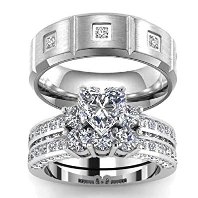 Cz Wedding Sets.Wedding Ring Set Two Rings His Hers Couples Rings Women S 10k White Gold Filled Heart Cz Wedding Engagement Ring Bridal Sets Men S Titanium Wedding