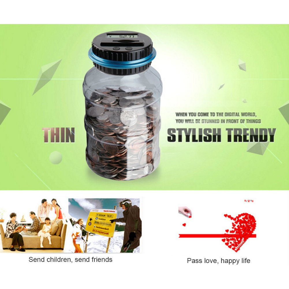 Dollar SODIAL Piggy Bank Digital Counting Coin Bank Creative Large Money Saving Box Jar Bank LCD Display Coins Saving Gift