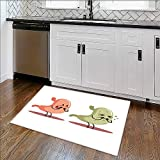 Rug for Home, Office stomach human internal organ vs un medical anatomic cartoon character High Absorbency W24'' x H18''