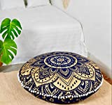 Popular Handicrafts Large Hippie Mandala Floor Pillow-Cushion-Pouf Cover Round Bohemian Yoga Decor Floor Cushion Case- 32'' Blue Gold