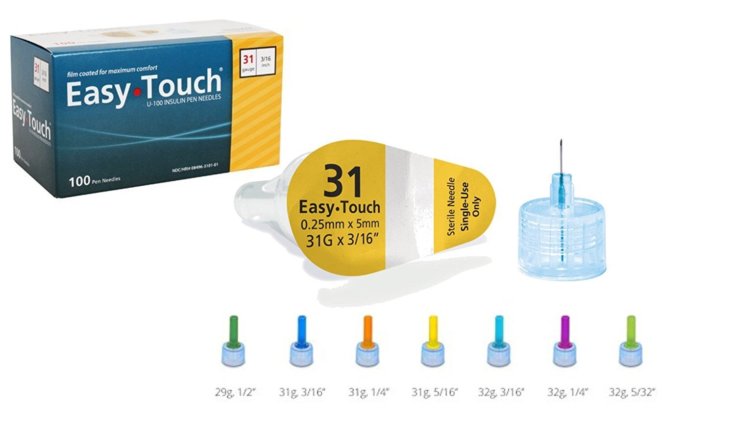 Easy Touch Pen Needles 31 Gauge 1 4 Inches Box Of 100 Easytouch Single Handle Kitchen Faucet Diagram Parts For Model 6310 831361 3 16