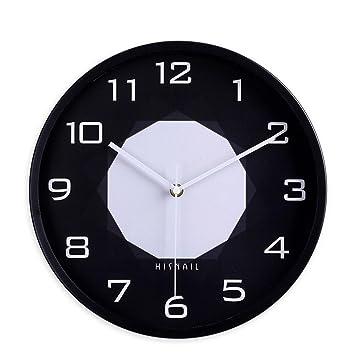 Relojes de Pared - Reloj Digital Simple Masculino 12 Pulgadas Marco de Recubrimiento Blanco y Negro