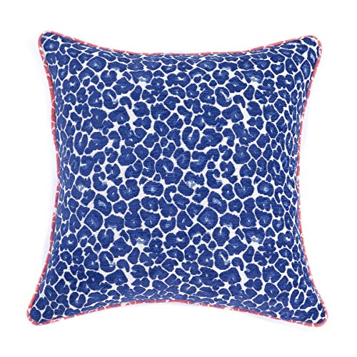 Homier Royal Blue Leopard Print Decorative Pillow Case Cushion Cover - Royal/Navy/Midnight Blue on White Jacquard with Neon Pink Leopard Piping - Large, 20 x 20 Inches