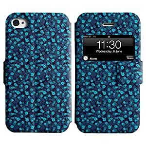 Be-Star Colorful Printed Design Slim PU Leather View Window Stand Flip Cover Case For Apple iPhone 4 / 4S ( Blue Circles ) Kimberly Kurzendoerfer