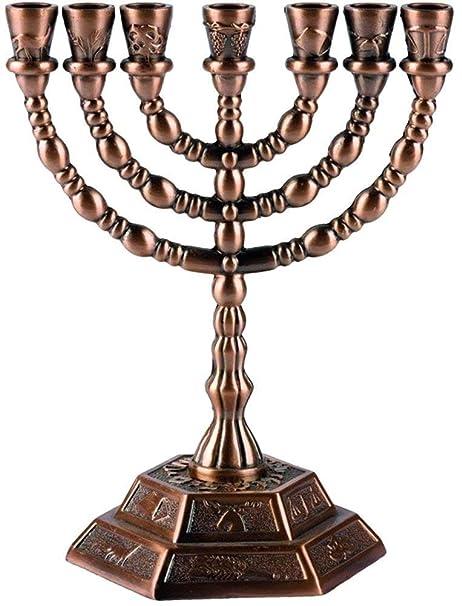12 Tribes of Israel Menorah 12,7 cm dorado soporte de vela jud/ía de 7 ramas de templo de Jerusal/én Aleaci/ón de cinc