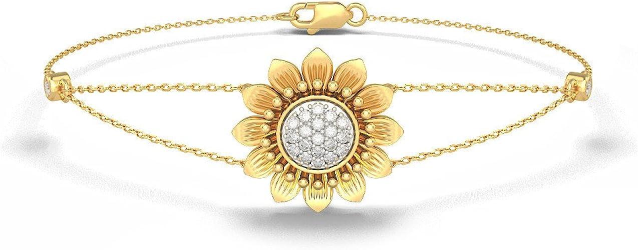 8 inches IJ| SI 14K Yellow Gold HallMarked identification-bracelets Size 0.392 cttw Round-Cut-Diamond
