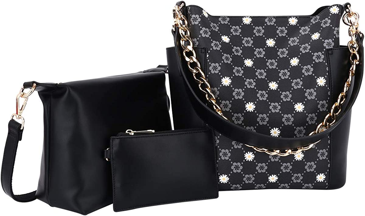 Women Fashion Handbags Tote Bag Shoulder Bag Top Handle Satchel Purse Set 5pcs (K.EYRE#2061#K122#2121L.PINK)
