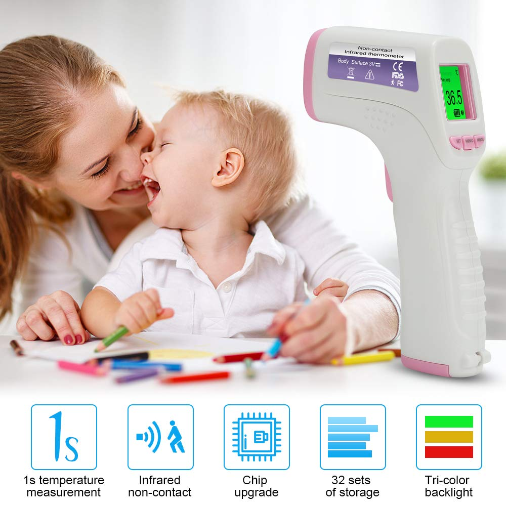Kivors Digital Infrared Forehead Thermometer Non-Contact Digital Thermometer with Fever Alert Function Thermometer for Baby Adults and Surface of Object