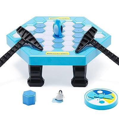 Ruikey Juegos de mesa de rompecabezas Cubos de hielo de equilibrio Guardar Pingüino Icebreaker Knock Ice Block Juego de escritorio interactivo para la fiesta de la familia: Juguetes y juegos