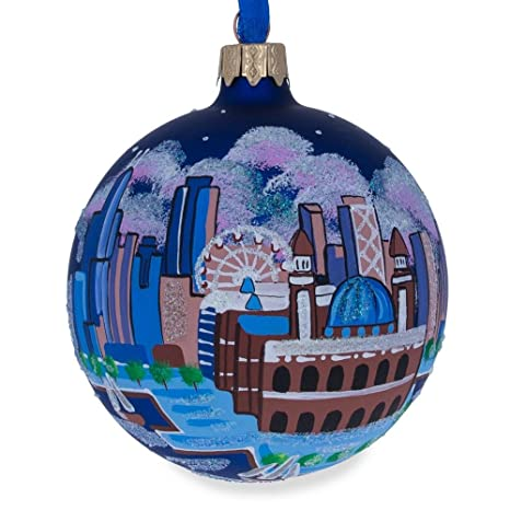 Bestpysanky Chicago Navy Pier Glass Ball Christmas Ornament 3 25 Inches