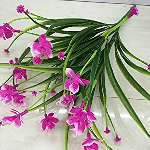 Nyalex 1 Bunch(1 Bunch=21Head) Artificial Flowers With Leaf Wedding Decoration Simulation Phalaenopsis Flower Home Decor 110