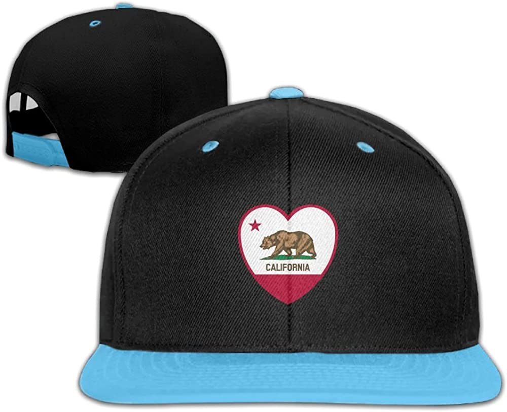 GUOFULIN California Flag Heart Adjustable Snapback Kids Hip Hop Hat Baseball Cap