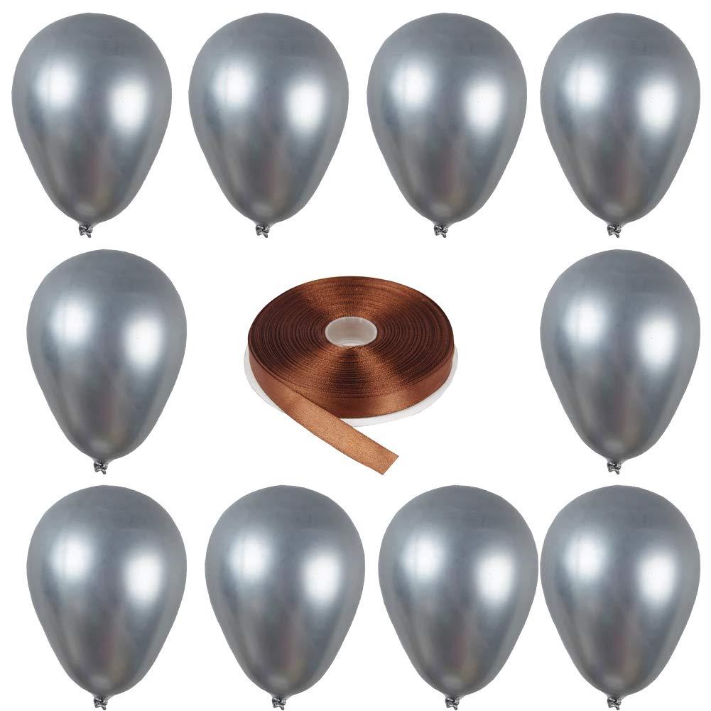 Tellpet カラフルラテックス メタリックバルーン 結婚式 卒業式 誕生日パーティー デコレーション 12インチ 10個 12インチ シルバー Metallic balloons-silver  シルバー B07JXBXTFN