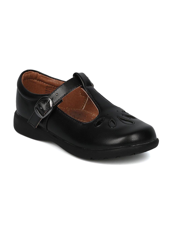 Alrisco Girls Leatherette Round Toe Water Drop T-Strap Mary Jane Uniform Shoe HC33 - Black Leatherette (Size: Little Kid 12)