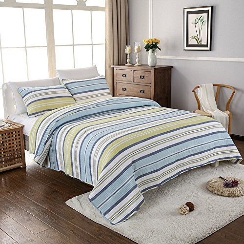 NEWLAKE Cotton Bedspread Quilt Sets-Reversible Patchwork Coverlet Set, Colorful Rainbows Stripes, Queen Size