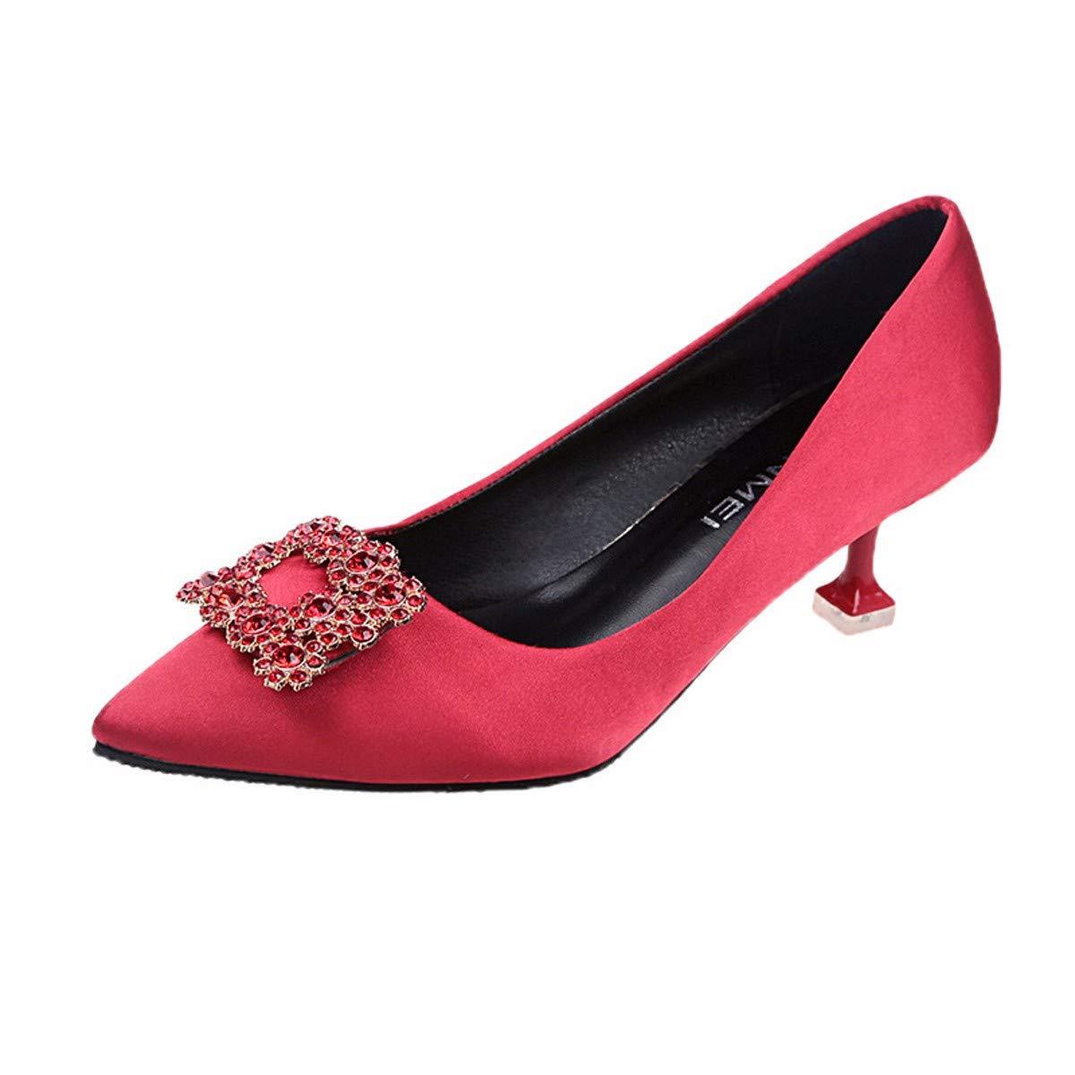 KPHY Damenschuhe Fine Hat Haare 6 cm Hochhackigen Schuhe Diamond Schnallen Flach Einzelne Schuhe Braut Die Hochzeit Schuhe s 38