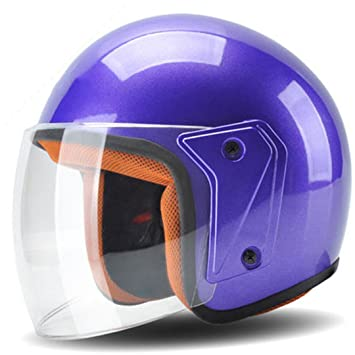 Roonsym Casco de motocicleta 3/4 cara abierta cascos moto Scooter Azul Motocross Biker negra
