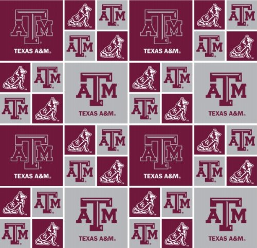 TEXAS A&M AGGIES COTTON FABRIC-100% COTTON -TEXAS A&M AGGIES FABRIC SOLD BY THE YARD-TEXAS A&M AGGIES #20 SYKEL-COLLEGE COTTON FABRIC