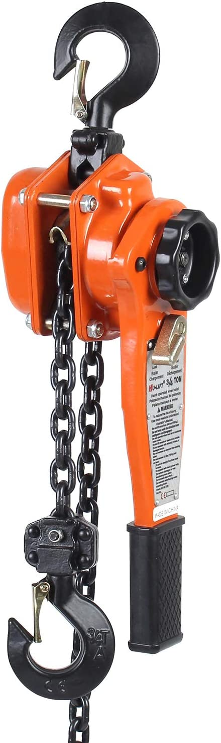 Amarite Chain Hoist Lever Hoist 0.75 Ton 1650Lbs 5ft Load Chain Manual Chain Hoist Industrial Grade Type Connection for Lifting Hook