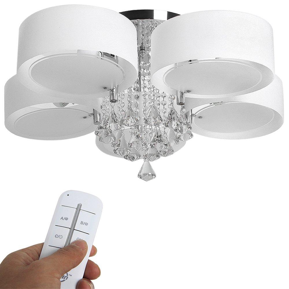 Yorbay LED Kristall Deckenleuchte Deckenlampe E27 RBP Licht Mit Fernbedienung Fr Wohnzimmer Esszimmer 5 Flammig Amazonde Beleuchtung