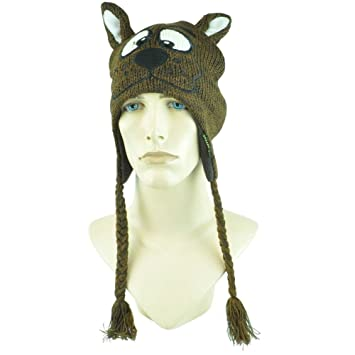 54f0651687d Scooby Doo Face Cartoon Pilot Laplander Dog Peruvian Ear Flap Face Beanie  Knit  Amazon.ca  Sports   Outdoors