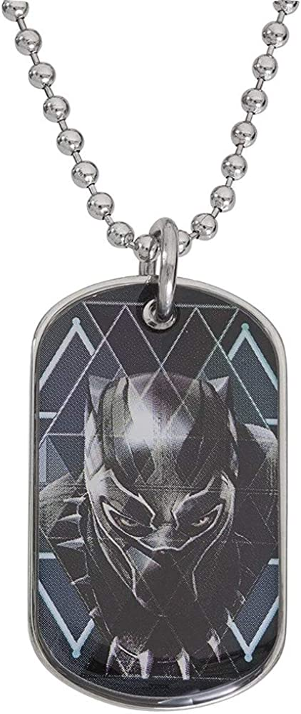 Marvel Black Panther Mens Stainless Steel Dog Tag Pendant, 20""