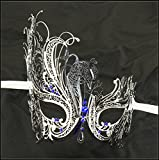 Luxury Mask Women's Swan Metal Filigree Laser Cut Venetian Masquerade Mask, Silver/Blue Stones, One Size