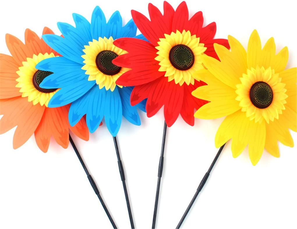 Random Color Cabilock 3pcs Sunflower Garden Wind Spinners Windmills Toy Garden Stakes Decorations Windmills Ornaments for Your Yard and Garden