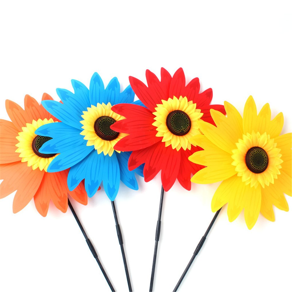 BrilliantDay 3 PCS Large Sunflower Windmill Wind Spinner Colourful Lawn Yard Garden Outdoor Decoration, 36CM Diametre