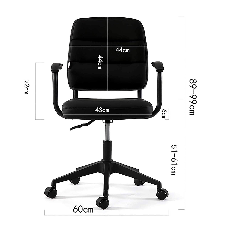 GAOPANG hemmakontor stol låg rygg PU-läder skrivbordsstol med stålfot och bekväm mjuk kudde, modemöbler Svart