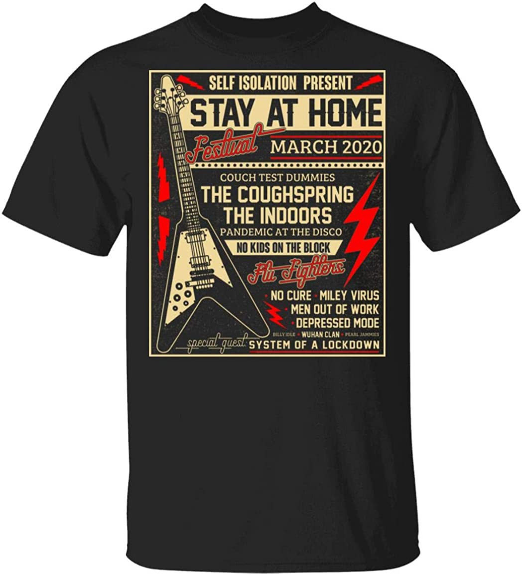 self Isolation Present Stay at Home Festival March 2020 t-Shirt Funny Rock Music 2020 Shirt