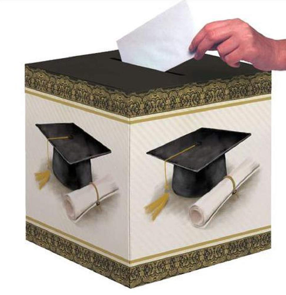 Creative Converting Party Creations Classic Graduation Card Holder Box | Cap and Gown | Diploma (2-Pack)