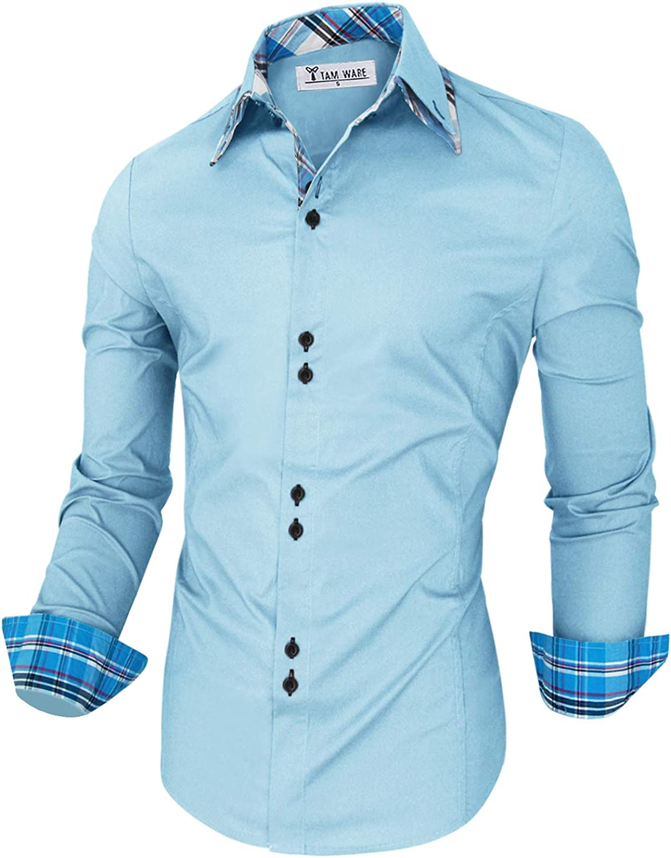 Alion Men Cotton Slim Long Sleeve Button Down Shirt Plaid Dress Shirts
