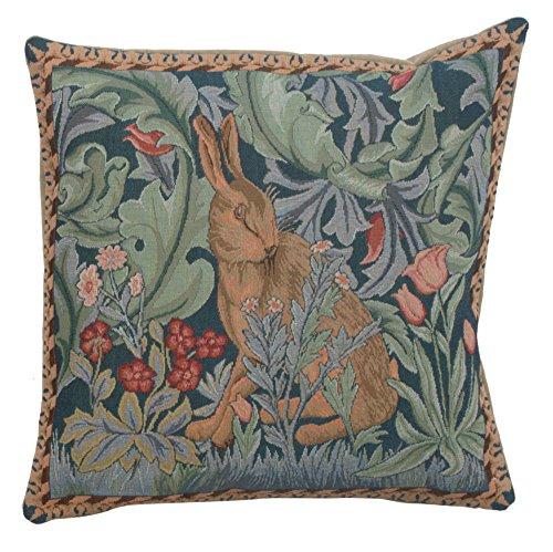 (Woven European jacquard tapestry cushion covers. Rabbit as William Morris 14 x 14