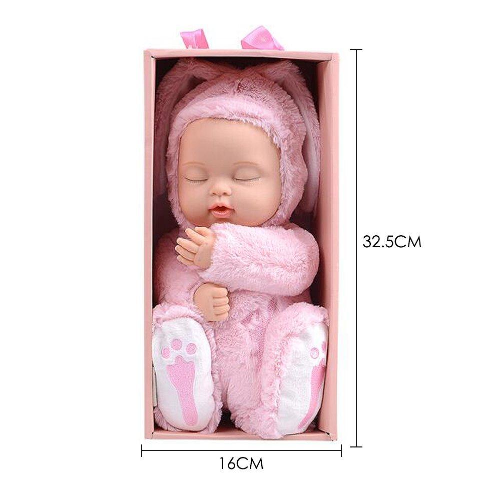 BIEBER Baby Child Gift Lifelike Realistic Reborn Sleeping Baby Doll Premium Soft Plush Toy (Pink) by BIEBER (Image #4)
