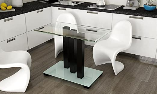 Mesa de comedor vidrio 140 cm columnas mesa rinconera de mesa de ...